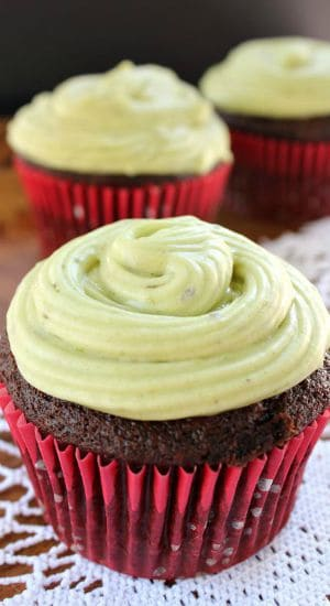 Chocolate Avocado Zucchini Cupcakes