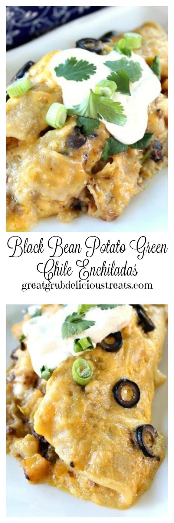 Black Bean Potato Green Chile Enchiladas