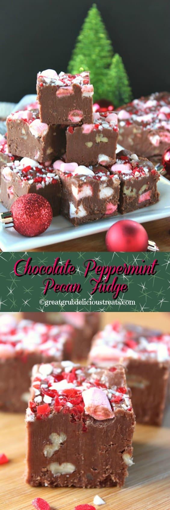 Chocolate Peppermint Pecan Fudge