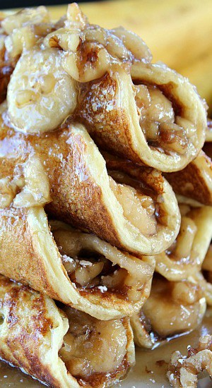 Banana Nut Filled Pancakes