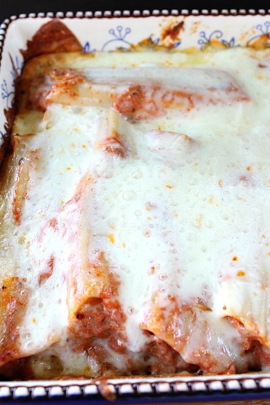 Lasagna Stuffed Manicotti