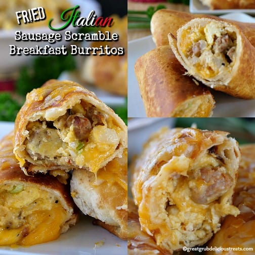 Fried Italian Sausage Scramble Breakfast Burritos