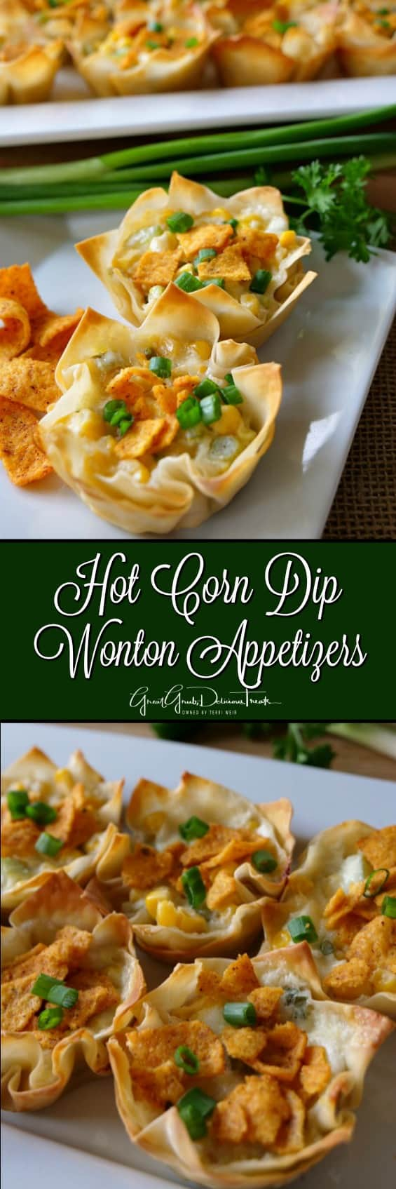 Hot Corn Dip Wonton Appetizers