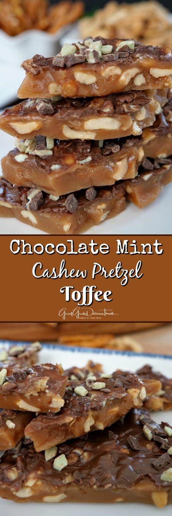 Chocolate Mint Cashew Pretzel Toffee