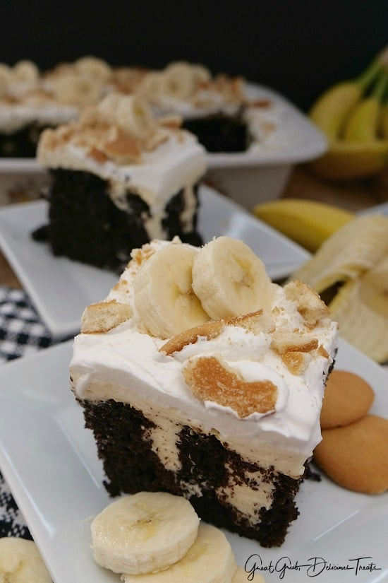Dark Chocolate Banana Poke Cake