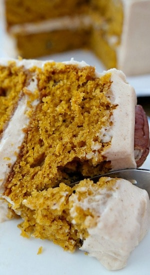 Pumpkin Pecan Cake with Cinnamon Buttercream Frosting