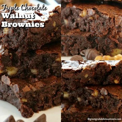 Triple Chocolate Walnut Brownies