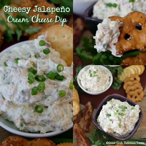 This cheesy jalapeno cream cheese dip is loaded with bacon, onions, jalapenos, 2 types of cheese, plus more. #creamcheesedip #jalapenodip #appetizers #appetizerrecipes #greatgrubdelicioustreats