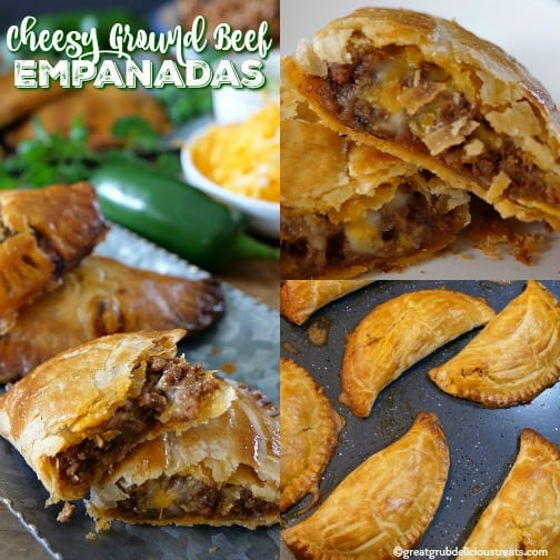 Cheesy Ground Beef Empanadas are loaded with cheese, deliciously seasoned meat, then baked to perfection.