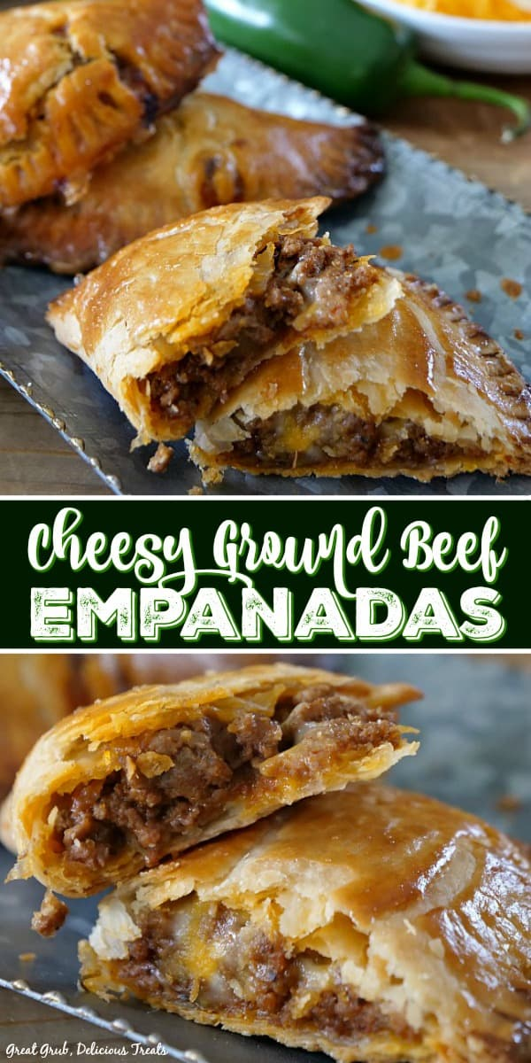 These Cheesy Ground Beef Empanadas are loaded with two types of cheese, deliciously seasoned meat, then baked to perfection.