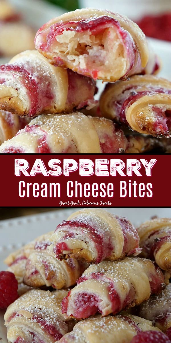 Raspberry Cream Cheese Bites have a cheesecake filling and a delicious raspberry sauce all rolled up in pie crust like a crescent then baked.
