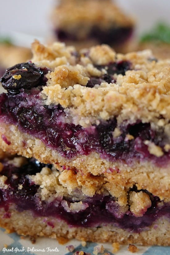 Blueberry Lemon Crumb Bars are loaded with juicy, fresh blueberries lemon juice and zest, then topped with a crumb topping.
