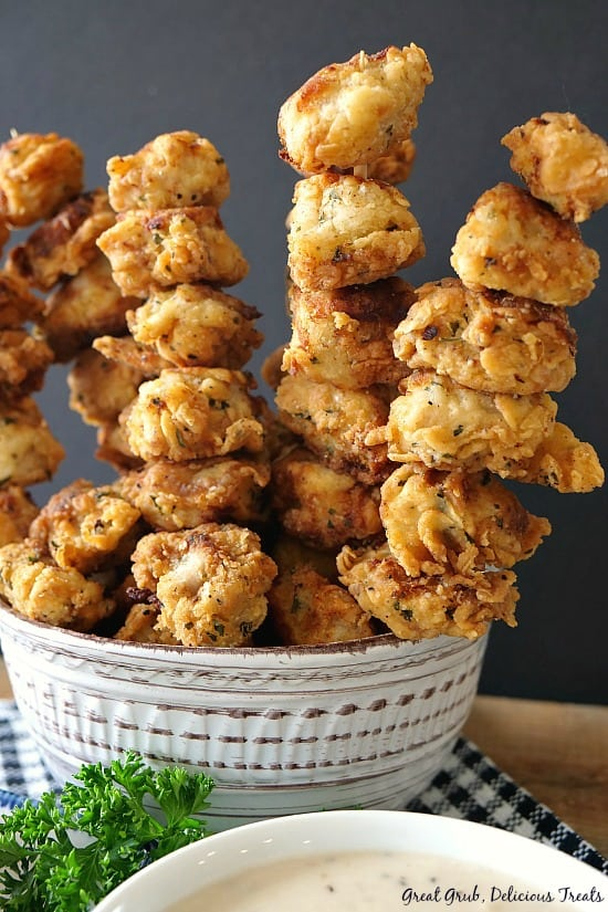 Chicken Fried Pork Nuggets can easily be served on skewers with a side of country gravy. #countrygravy #nuggets #delish #dinner #greatgrubdelicioustreats