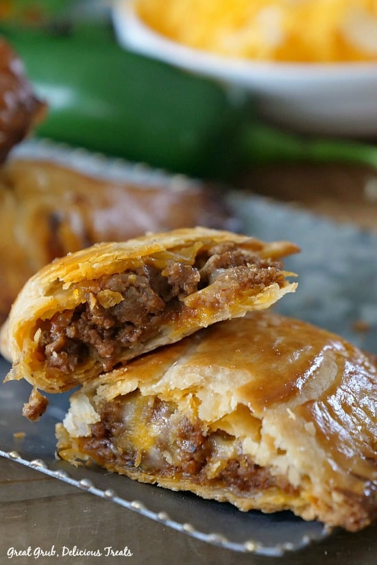 Cheesy Ground Beef Empanadas loaded with two types of cheese and deliciously seasoned meat, then baked.