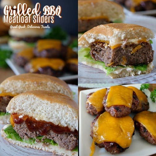 Grilled BBQ Meatloaf Sliders are small and tasty meatloaf burgers with barbecue sauce and melted cheese.