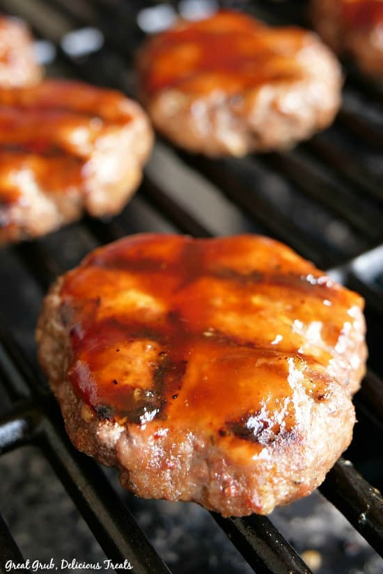 Grilled BBQ Meatloaf Sliders are small meatloaf burgers smothered in bbq sauce, then grilled to perfection.