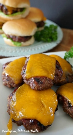 Grilled BBQ Meatloaf Sliders are small meatloaf burgers, grilled to perfection with melted cheese and barbecue sauce.