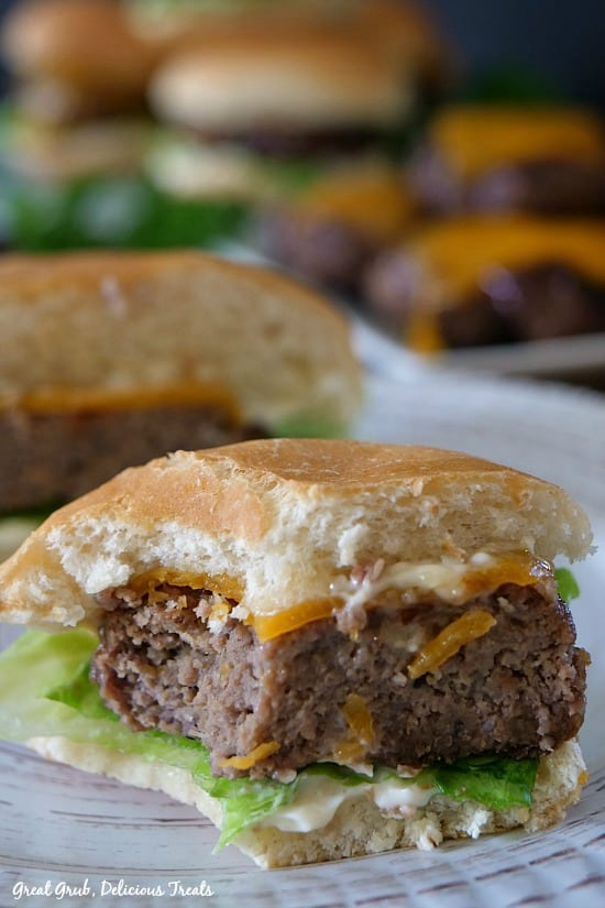 Grilled BBQ Meatloaf Sliders are tasty little meatloaf burgers grilled and finished off with melted cheese.
