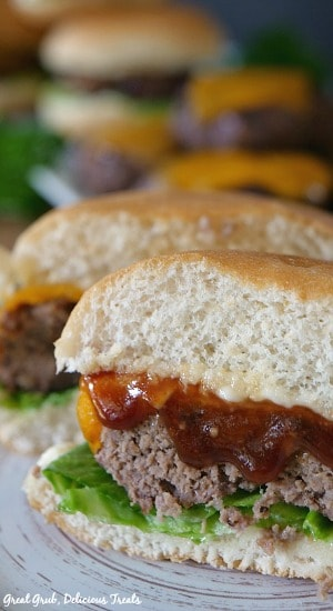 Grilled BBQ Meatloaf Sliders are individual hand-held meatloaf sliders with melted cheese and bbq sauce.