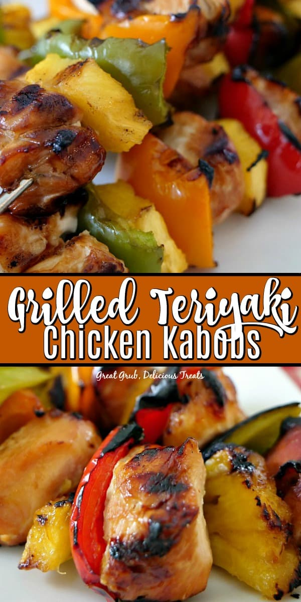 Grilled Teriyaki Chicken Kabobs are marinated chicken breasts pieces, fresh pineapple and bell peppers grilled to perfection.