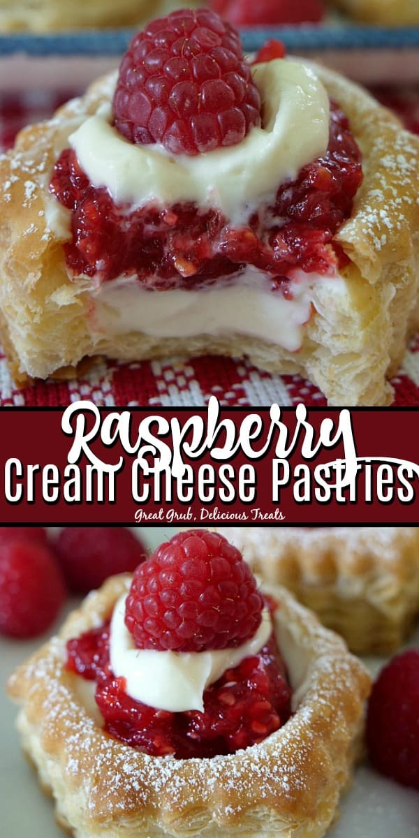 Raspberry Cream Cheese Pastries are made in puff pastry shells, filled with a cream cheese and raspberry filling.