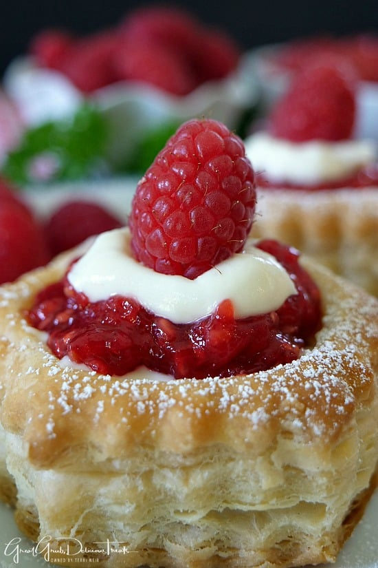 Raspberry Cream Cheese Pastries are a delicious cream cheese raspberry filled dessert made in a puff pastry shell.