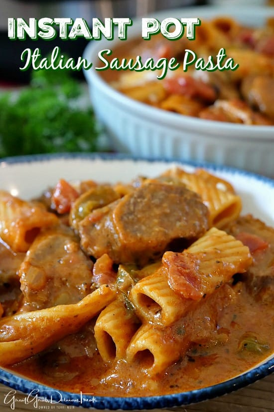 Instant Pot Italian Sausage Pasta is loaded with Italian sausage, mozzarella cheese, delicious seasoning and Rigatoni pasta.