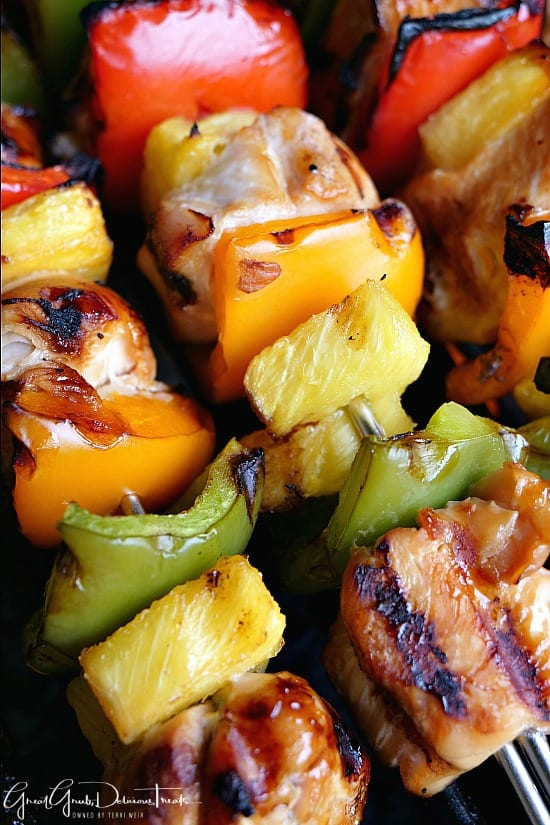 Chicken breasts pieces marinated in teriyaki sauce grilled with pineapple and bell peppers.
