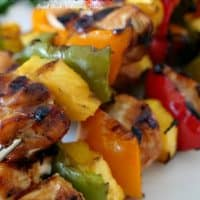 Grilled Teriyaki Chicken Kabobs are an easy, delicious and colorful barbecue chicken recipe made with chicken breast, fresh pineapple and three types of bell peppers.