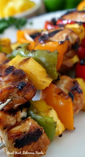 Grilled Teriyaki Chicken Kabobs are marinated chicken breasts pieces, fresh pineapple and bell peppers.