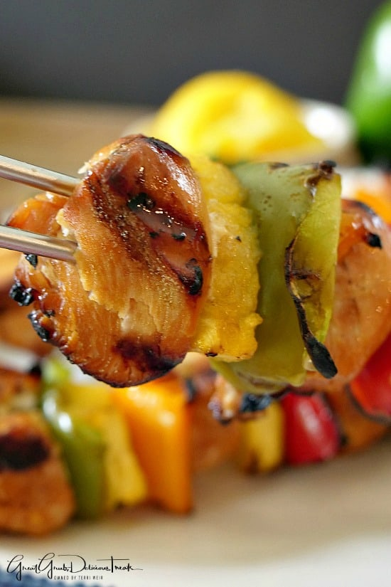 Grilled Teriyaki Chicken Kabobs are loaded with chicken, pineapple, bell peppers, delicious flavor and grilled to perfection.