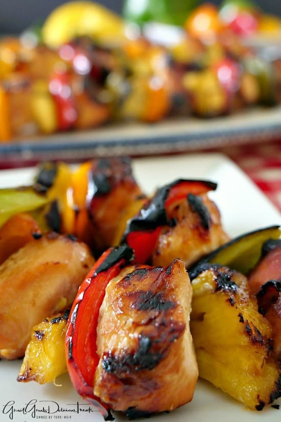 Grilled Teriyaki Chicken Kabobs are grilled to perfection, loaded with chicken, pineapple and bell peppers.