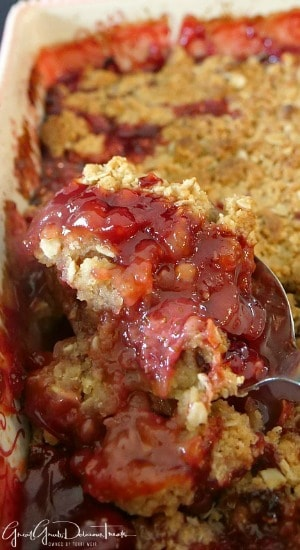 Homemade Strawberry Crisp has a crispy topping and fresh strawberry filling.