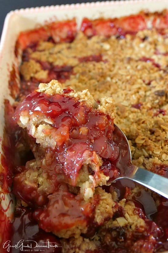 Homemade Strawberry Crisp is a delicious fruit crisp recipe loaded with fresh strawberries.