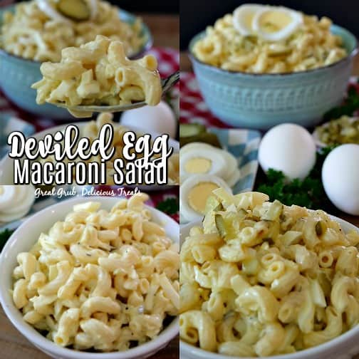 Deviled Egg Macaroni Salad is the perfect side dish recipe, loaded with pasta, eggs, pickles and onions.