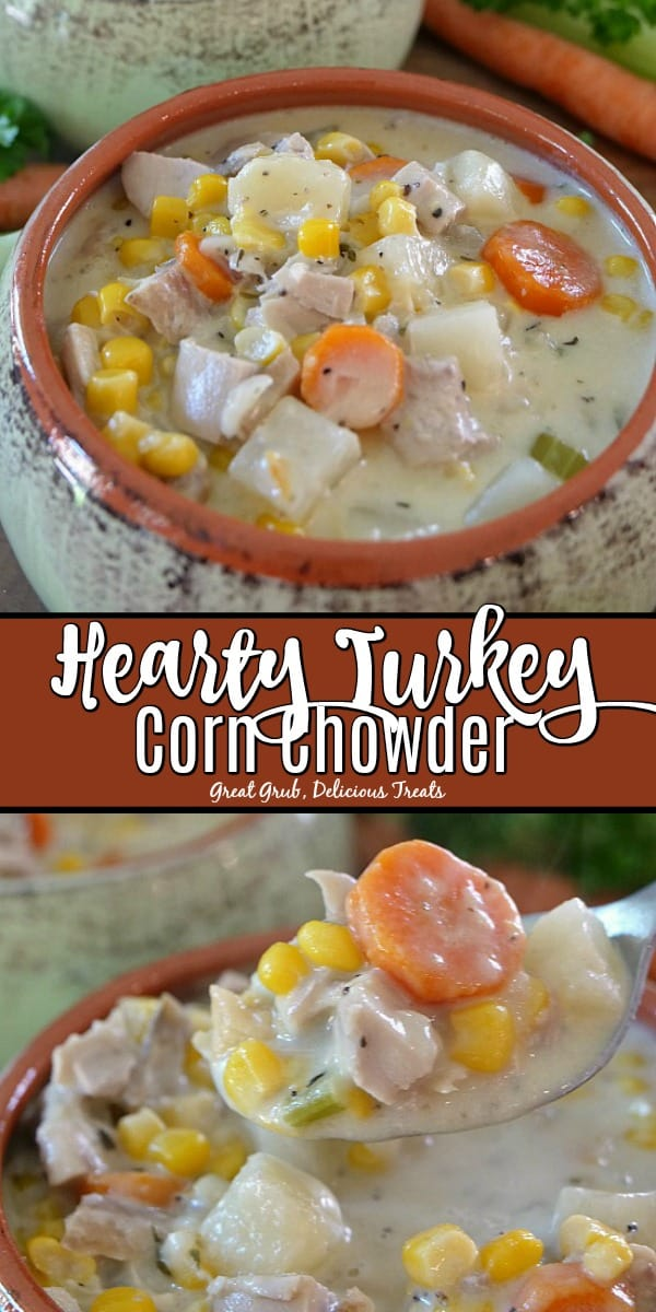 Hearty Turkey Corn Chowder is loaded with leftover turkey and delicious veggies.