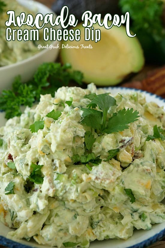 Avocado Bacon Cream Cheese Dip is loaded with avocados, bacon, cream cheese, two types of cheese and lots more deliciousness.