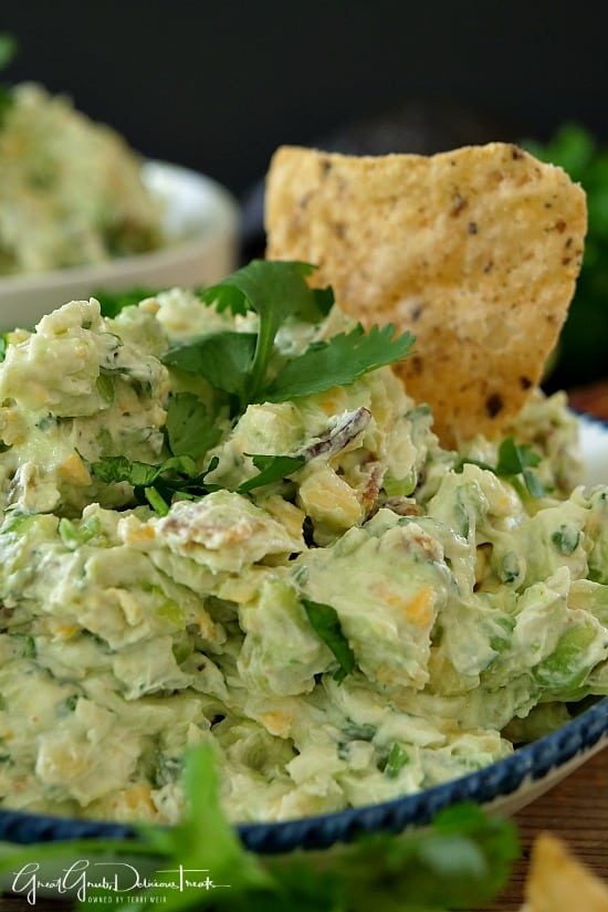 Avocado Bacon Cream Cheese Dip is the perfect appetizer dip recipe that is made with avocados and crispy bacon.