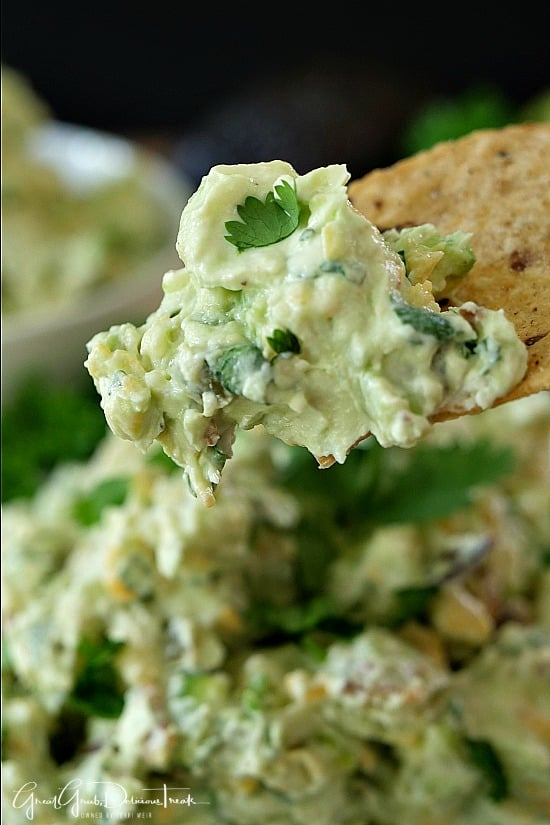 Avocado Bacon Cream Cheese Dip is the perfect game day appetizer recipe. Loaded with avocados, bacon, cheese and lots more delicious ingredients.