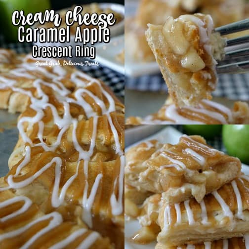 Cream Cheese Caramel Apple Crescent Ring - a 3 photo collage pic with the crescent ring in one, a bite of crescent on a fork in another and crescent triangles stacked on top of each other.