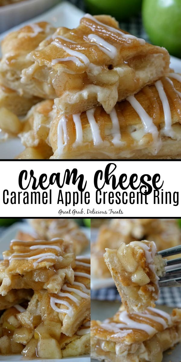 Cream Cheese Caramel Apple Crescent Ring has a cheesecake filling, apples, stuffed into a crescent ring, drizzled with caramel and glaze.