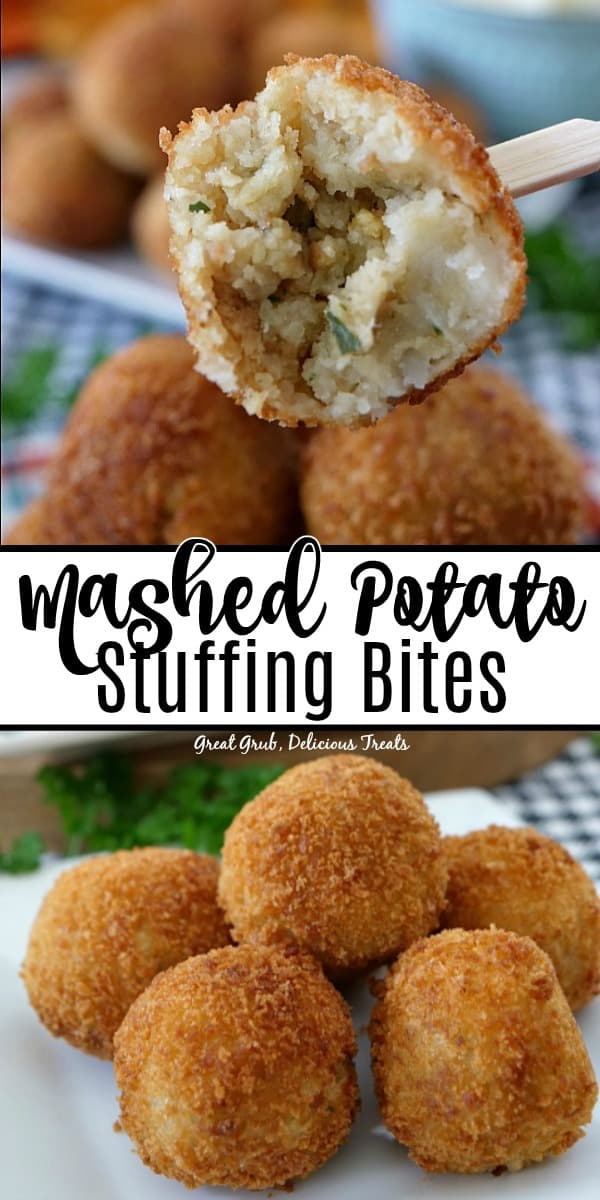 Mashed Potato Stuffing Bites are crispy, savory bites of stuffing and mashed potatoes fried to perfection.