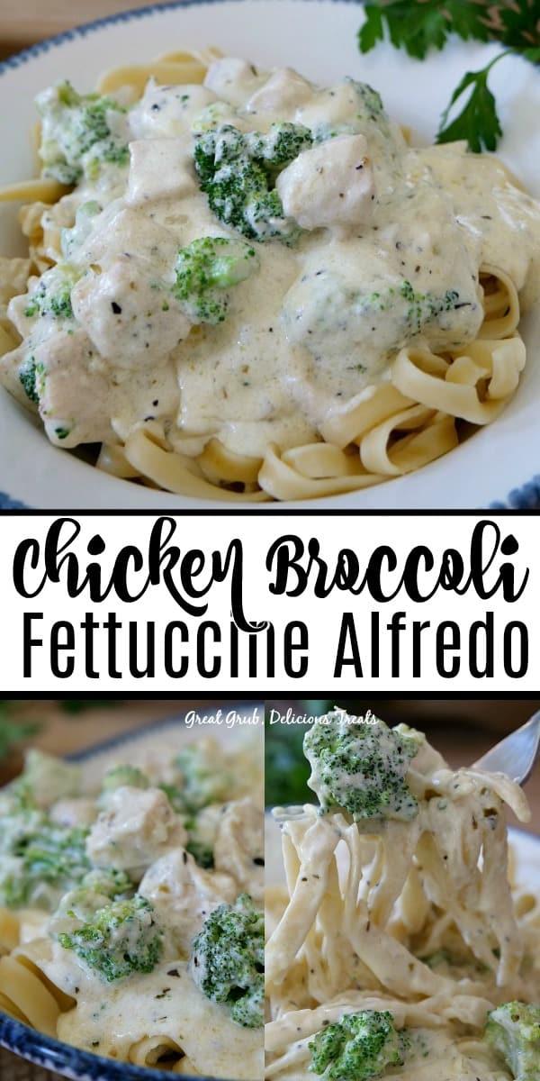 Chicken Broccoli Fettuccine Alfredo has the best homemade creamy alfredo sauce, deliciously seasoned chicken and broccoli florets.