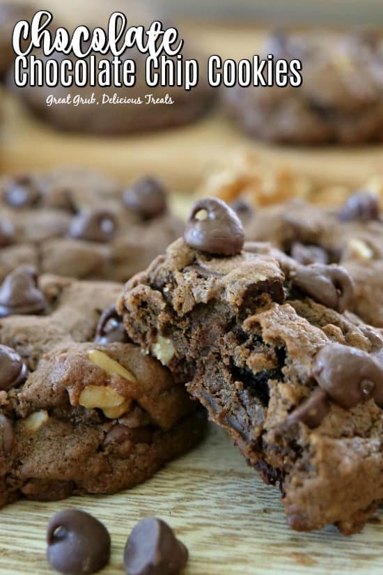 Chocolate Chocolate Chip Cookies are thick, soft and chewy, loaded with chocolate chips, chocolate chunks and walnuts.