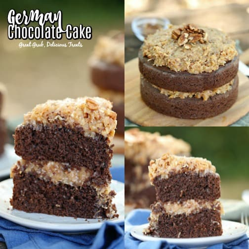 German Chocolate Cake is filled and frosted with the delicious classic coconut pecan frosting.