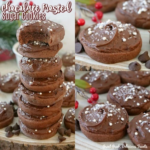 Chocolate Frosted Sugar Cookies are super delicious with the chocolate frosting and candied sprinkles.