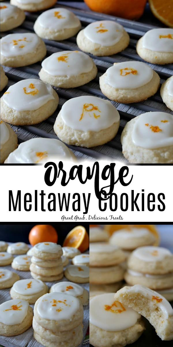 Orange Meltaway Cookies are soft and chewy, topped with an orange flavored icing and orange zest.