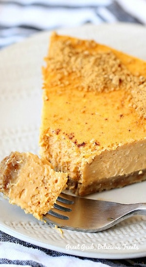 Pumpkin Cheesecake has two great tastes in one dessert, cheesecake and pumpkin and perfect for the holidays.