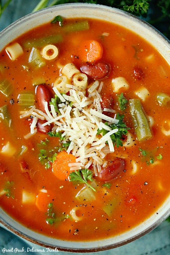 Minestrone Soup is a hearty, delicious soup loaded with heatlhy vegetables.