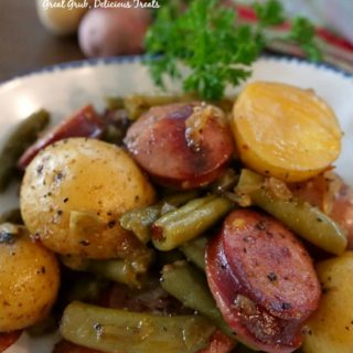 Sausage Green Bean Potato Casserole is a hearty side dish with baby creamers, green beans and sausage kielbasa.